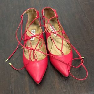 Leather lace up flats
